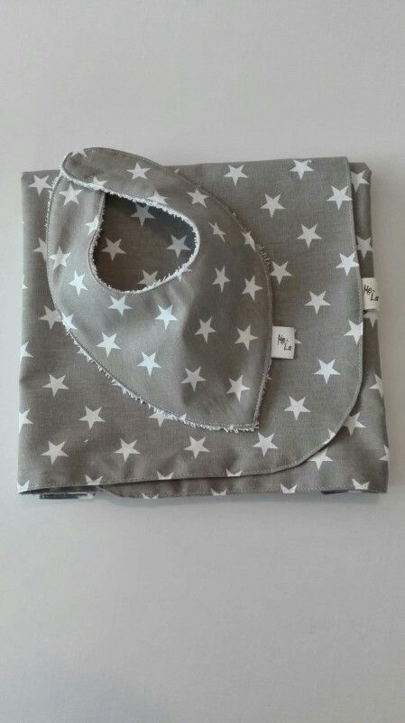 Baby car seat cover and bandana bib in 100% cotton.
