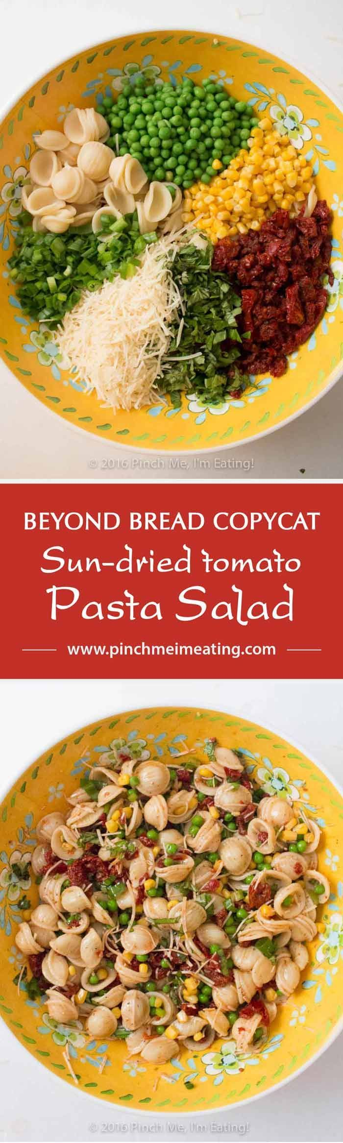 Full of fresh basil and veggies, this lightly dressed sun-dried tomato pasta salad is a refreshing and flavorful side dish for sandwiches, a potluck, or a light lunch! Copycat recipe from Beyond Bread in Tucson, AZ.   www.pinchmeimeati...