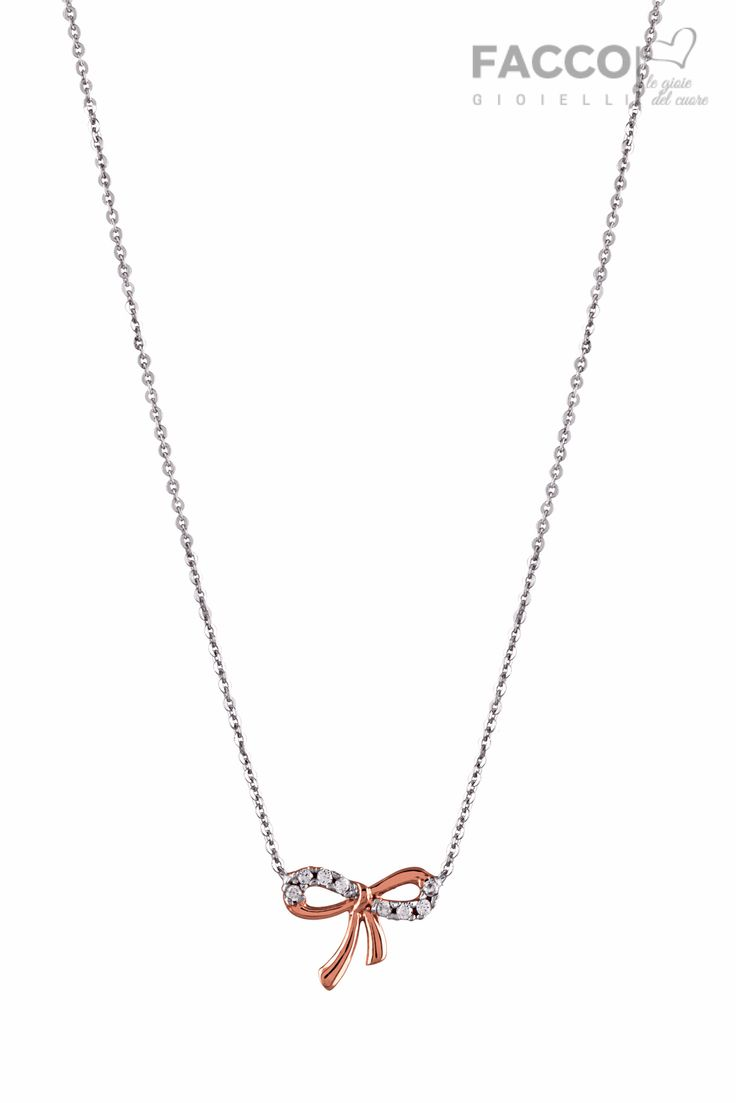 Collana donna, Facco Gioielli, in oro bianco 750‰, fiocco in oro rosa 750‰ e zirconi.