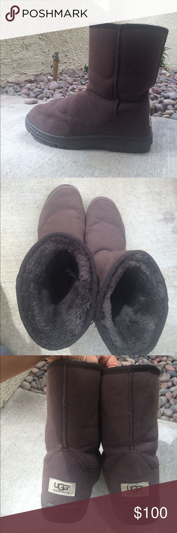 *Make Offer* UGG Classic Short Brown Outdoor Boot Classic short UGG boot with the outdoor sole/bottoms. Rarely worn outside and never when raining. Used them as house slippers. Very good condition. Size is 7W. I am a 7.5 and they fit me perfectly. Make an offer. UGG Shoes Winter & Rain Boots