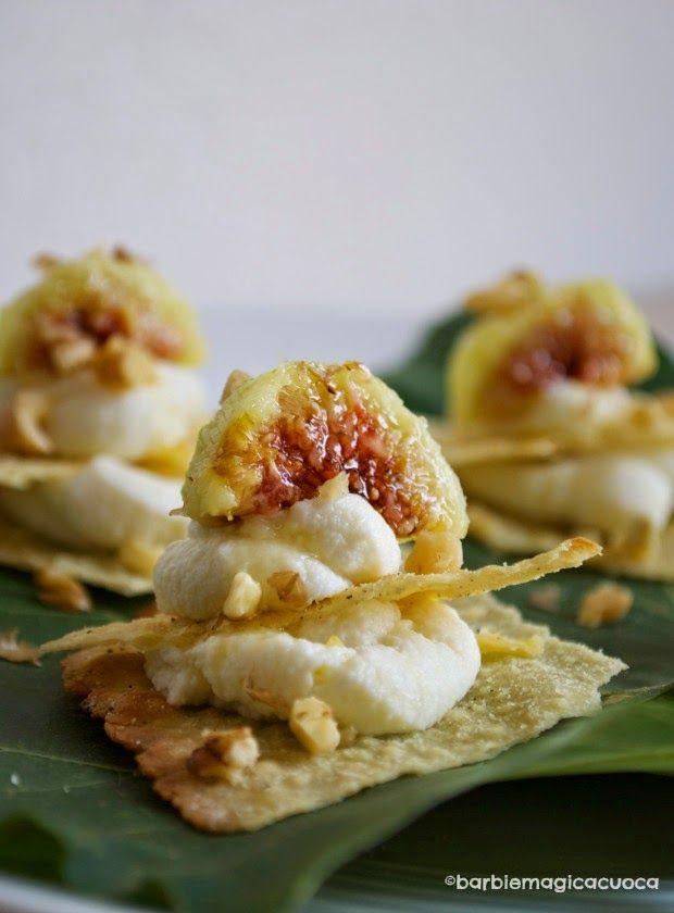 Millefoglie ricotta, fichi, miele e noci - finger food