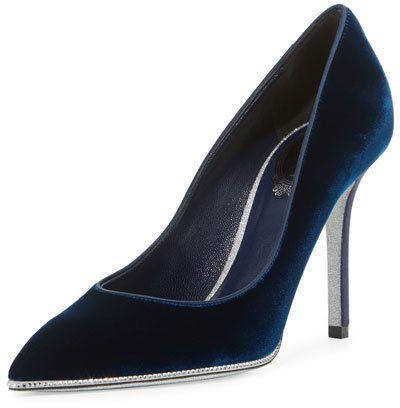 Rene Caovilla Velvet Crystal-Trimmed 95mm Pump, Navy Blue | #Chic Only #Glamour Always