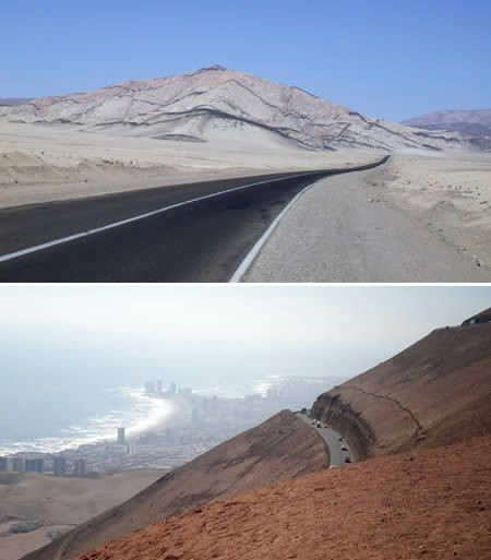 Ruta 5: Arica to Iquique Road (Chile)    The road from Arica to Iquique is renowned for being dangerous; you drive past very deep valleys and wind your way through, spotting ever so often tell-tale vehicle skeletons at the bottom.