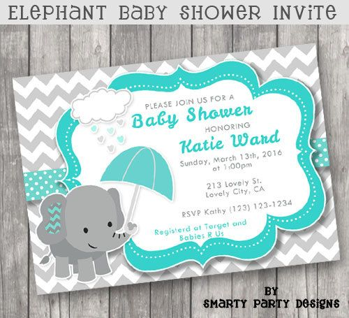42 best baby shower elephant invitations images on pinterest baby umbrella elephant baby shower invitations by smartypartydesigns filmwisefo Gallery