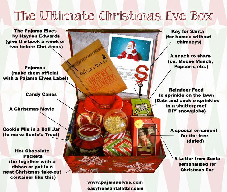 At our house, a little Elf comes jingling by with a special delivery on Christmas Eve. We never catch him, but he always leaves a box of goodies like this on the front step! www.easyfreesantaletter.com and www.pajamaelves.com