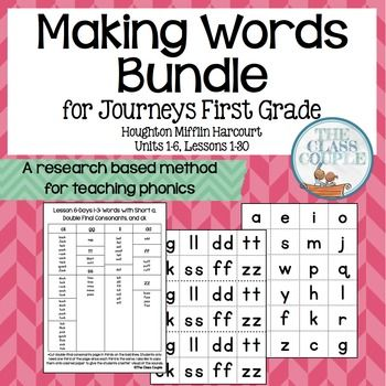 Journeys First Grade Making Words: FULL YEAR BUNDLE!(Units 1-6)  These word cards can be used to practice making words with your students when teaching the phonics skills on Days 1-3 in the first grade Houghton Mifflin Journeys reading series.
