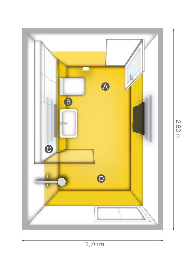Desmontando estancias en #hogarhabitissimo A. Suelo de resina: La resina es un material económico, resistente, antideslizante y puede aplicarse en cualquier tono.  B. Inodoro suspendido: Son muy estéticos y fáciles de limpiar, pero necesitan una cisterna de pared y un espacio donde colocarla de al menos 8 cm de ancho.  C. Armario de obra con frente espejo: Aprovecha los frentes de los armarios como espejo.  D. Plato de ducha también de resina