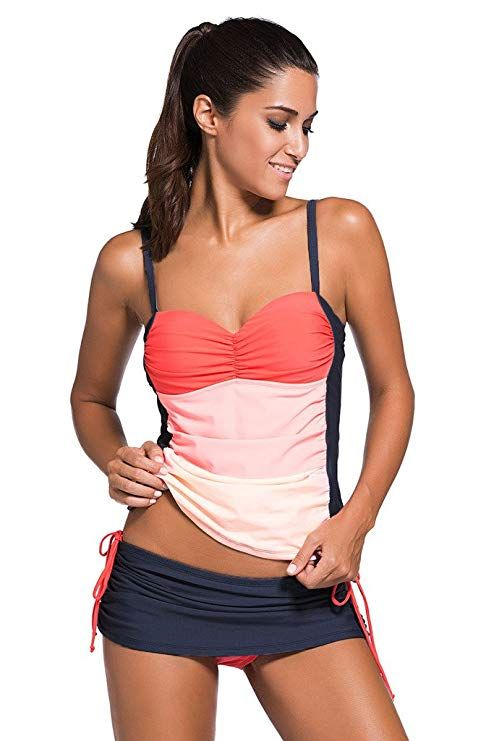 b63a57709 Chase Secret Womens Two Piece Tankini Sets Tops Swimwear XX-Large Pink  Orange
