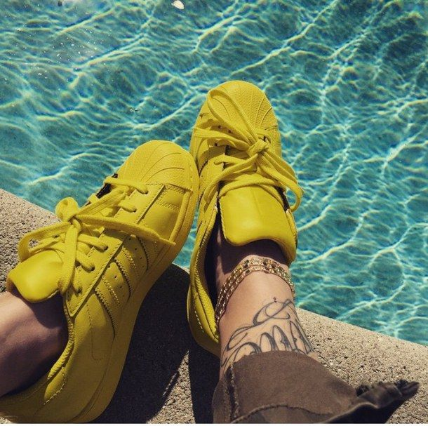adidas, bright, chic, classic, colorful, dope, fashion, fresh, love, neon, pharrell williams, pool, shoes, sneakers, street style, summertime, sunshine, tattoos, water, yellow, adidas superstar, superstar supercolor