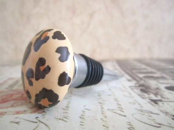 Wine Bottle Stopper  Leopard Wine Bottle Stopper by ZVineWine, $19.95