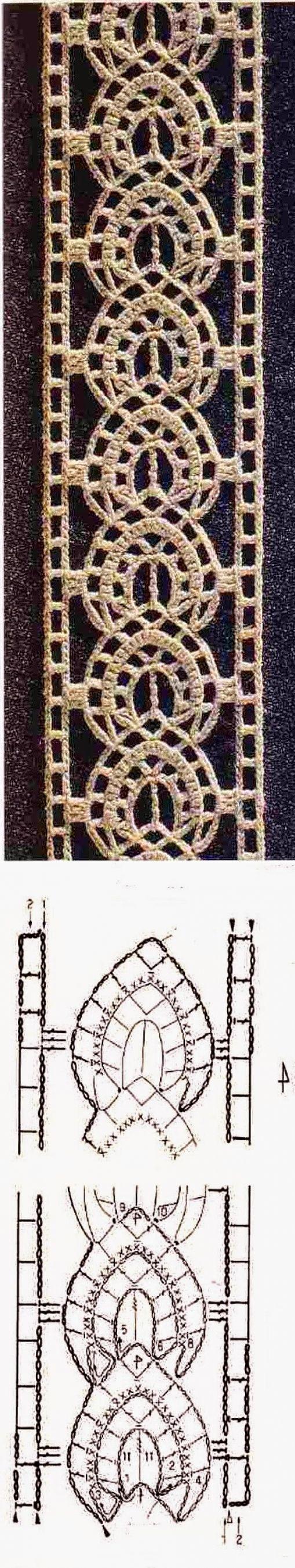 Crochet lace insertion worked sideways ~~ Ivelise Feito à Mão: tirinha ou entremeio