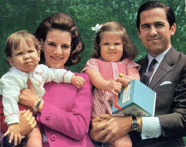 Queen Anne Marie is holding Crown Prince Pavlos (*1967), King Constantine II is holding Princess Alexia (*1965) in Rome 1968