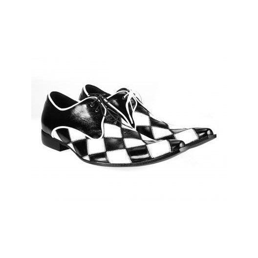 Pánske kožené extravagantné topánky čiernobiele PT041 - manozo.hu