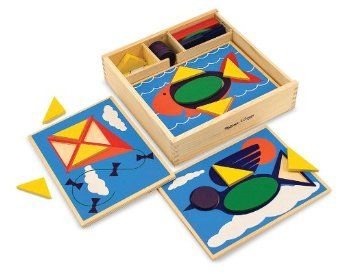 Melissa & Doug Beginner Pattern Blocks - The ten pattern boards make this a really affordable and easy to store puzzle set. Love that all the pieces are simple shapes.
