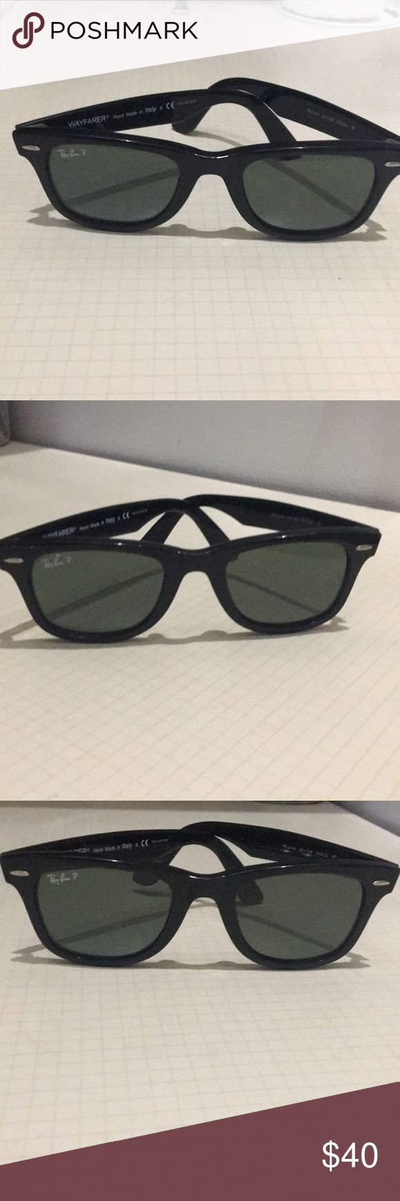 Ray-Ban Wayfarer Black Polarized Dark Lenses 50 mm Ray-Ban Wayfarer Black Polarized Lenses Black/ Green Dark Tinted Authentic A Few Minor Scratches On Bottom Of Arm That Tucks Behind Your Ear- Sunglasses Only- They Are Loose On Me- Excellent Sunglasses 50 mm Lenses Ray-Ban Accessories Sunglasses