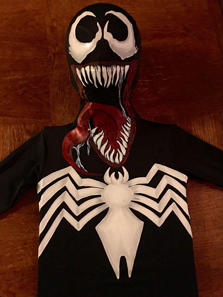 DIY VENOM COSTUME Handpainted venom child's cosplay from a morphsuit