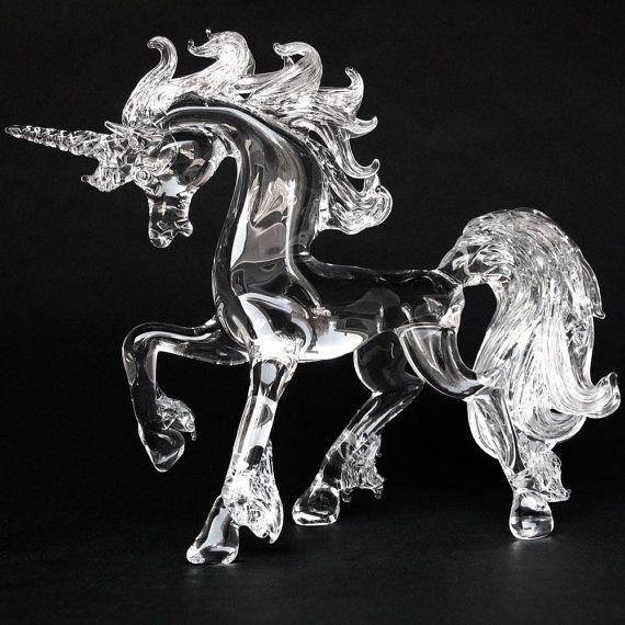 Unicorn Prancing Hand Blown Glass Crystal Figurine on Etsy, $169.61 AUD