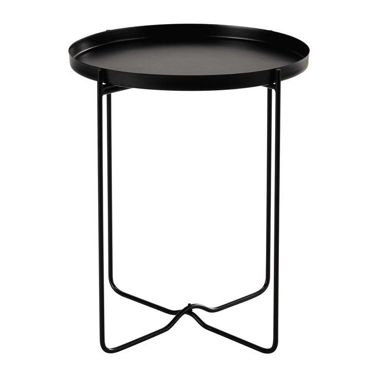 55 cm hoog Metalen bijzettafel, zwart, diameter ...