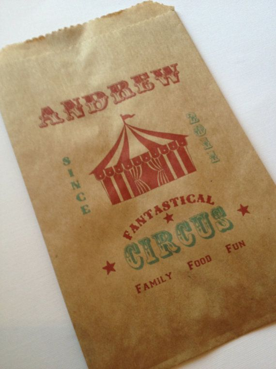 25 Custom Big Top Tent Candy Bags-Candy Buffet-Baby Shower, Birthday, Vintage Circus, Carnival, Popcorn Bag, Peanut Bag on Etsy, $16.50