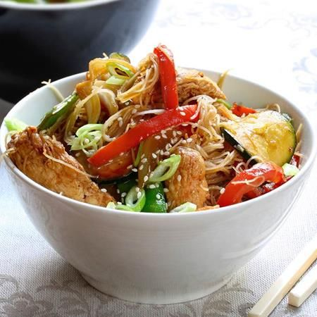 Delicious pork fillet marinaded in a combination of sesame oil%2C honey%2C soy sauce%2C orange zest%2C orange juice and Chinese 5 Spice Herb %26 Spice Blend.  Serve with stir fried noodles%2C courgettes%2C carrots and spring onions for a mouth-watering dinner to please everyone.