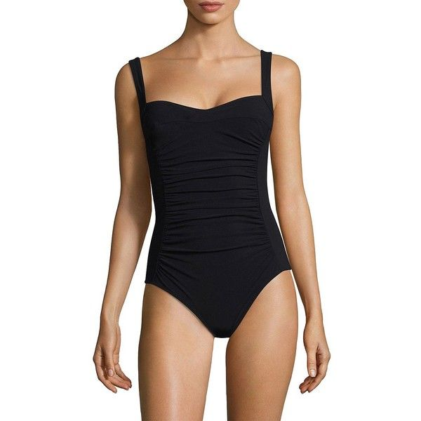 Karla Colletto Swim One-Piece Squareneck Swimsuit ($285) ❤ liked on Polyvore featuring swimwear, one-piece swimsuits, slimming swimsuits, slimming bathing suits, ruched one piece bathing suit, slimming one piece swimwear and one piece swim suit
