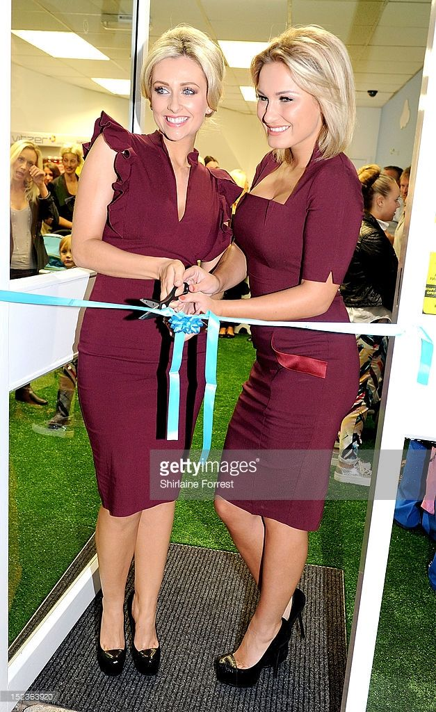 Gemma Merna and Samantha Faiers attend photocall to launch their new joint venutre - FY! Frozen Yoghurt stores on September 19, 2012 in Ormskirk, England.