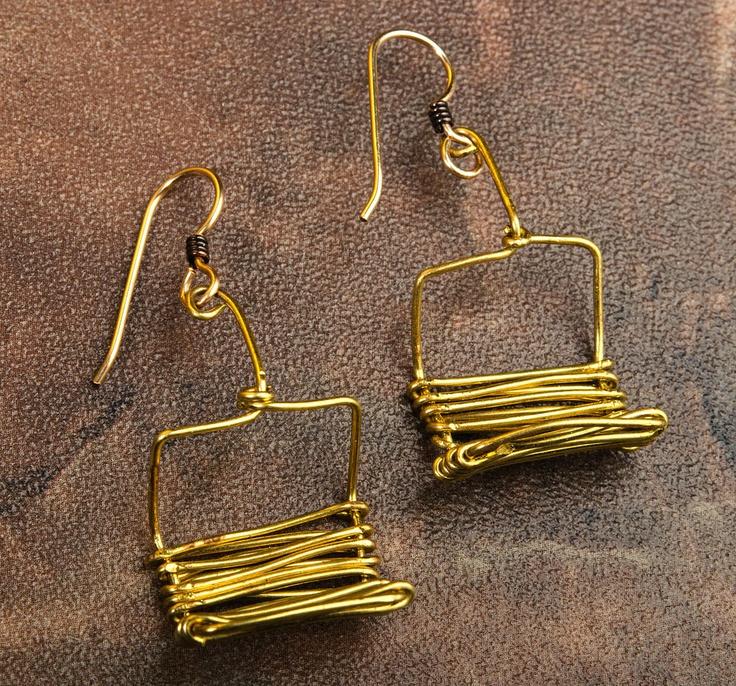 Ski Lift Chair Earrings.
