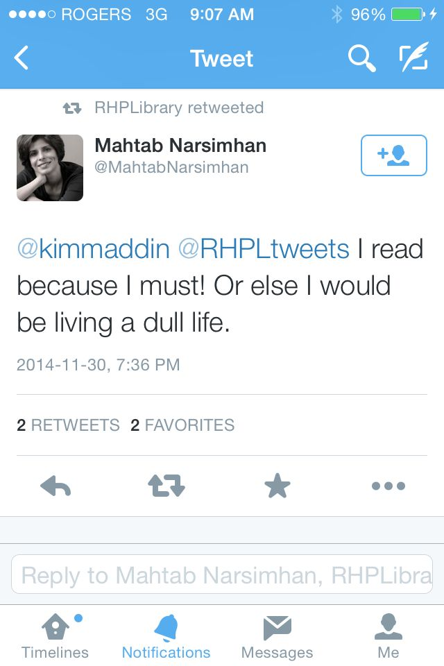 #IReadBecause I must! Or else I would be living a dull life - Mahtab Narsimhan