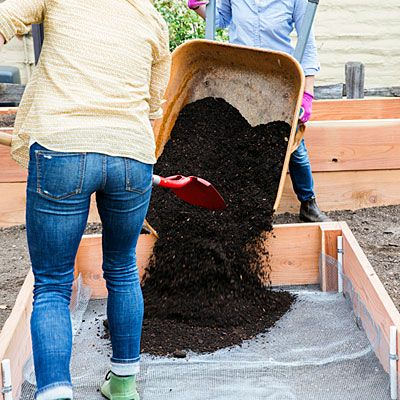 Add soil - How to Build a Raised Garden Bed - Sunset