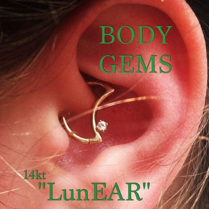 """Body Gems Creation: 14kt Gold LunEAR"""" moon shaped seamless ring great for the daith. (Piercing done @Luckysnoho)"""