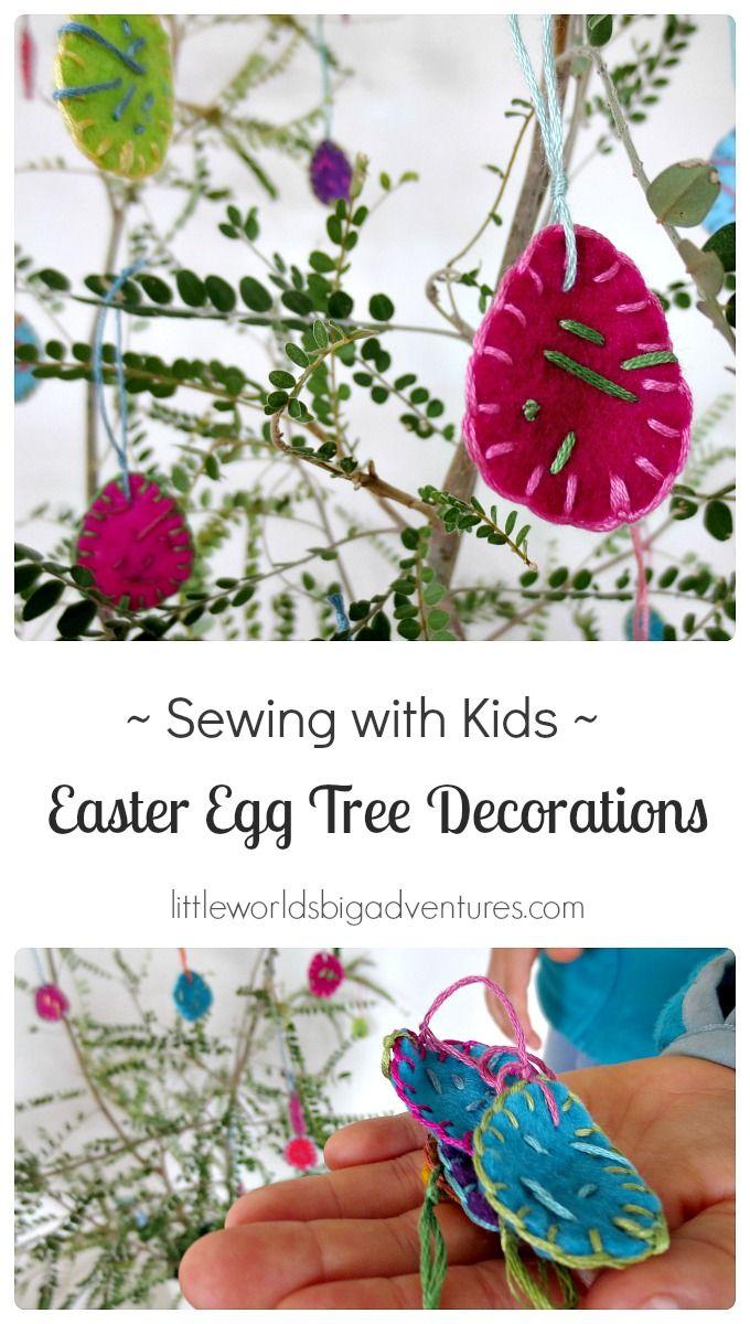 Kids can and love to sew! They'll love this  simple felt Easter egg sewing activity and you'll end up with gorgeous Easter decorations! | Little Worlds Big Adventures