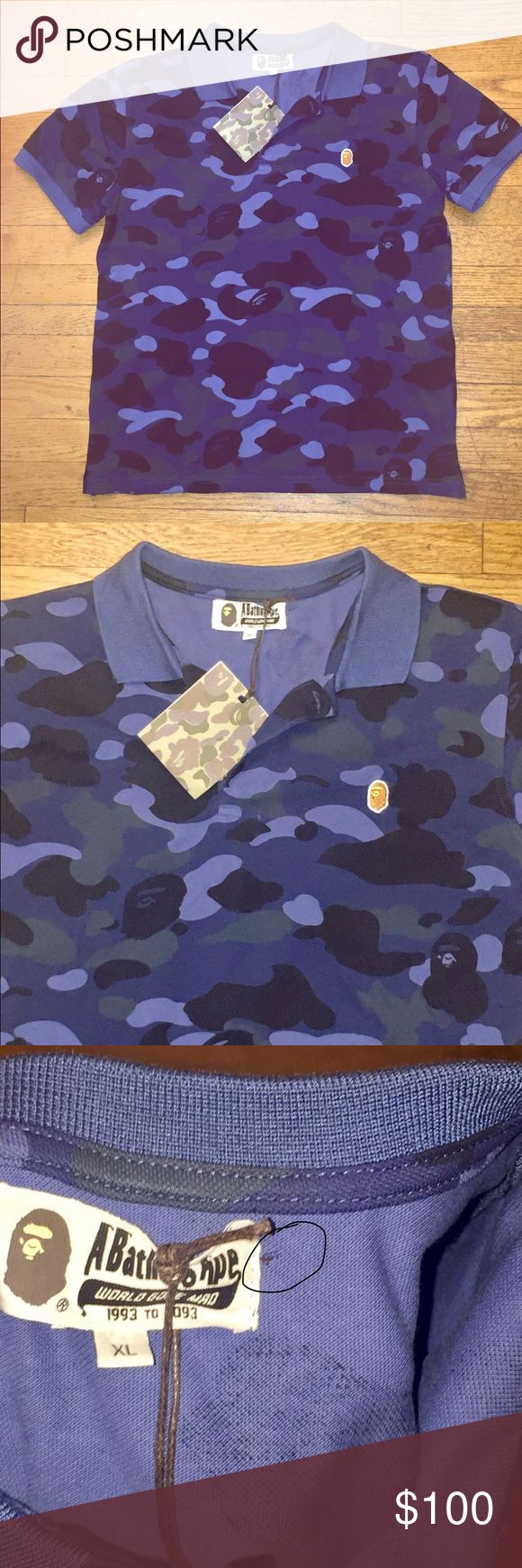 "Bape A Bathing Ape Blue Polo Camo Camouflage Tags Up for sale is this classic Bape polo shirt in XL.  This is an XL, and measures about 20.5"" from armpit to armpit, and 25"" from top to bottom.  It appears to run on the small side for a man.  Blue camo pattern with tag attached.  There is a small hall by the tag.  See last picture. Bape Tops Tees - Short Sleeve"