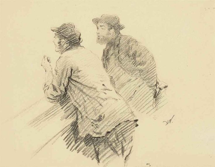 Giuseppe de Nittis (Italian,1846-1884), Deux hommes accoudés discutant. Charcoal, 240 x 303 mm.