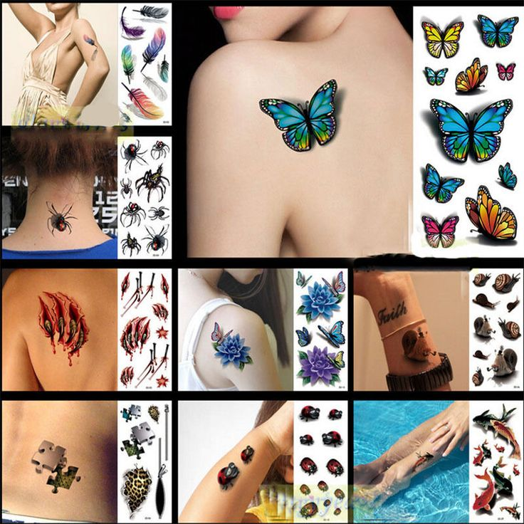 10x Styles 3D Colorful Flowers Rose Waterproof Body Lip Art Sleeve DIY Stickers Glitter Metal Temporary Tattoos Inspired Tatto