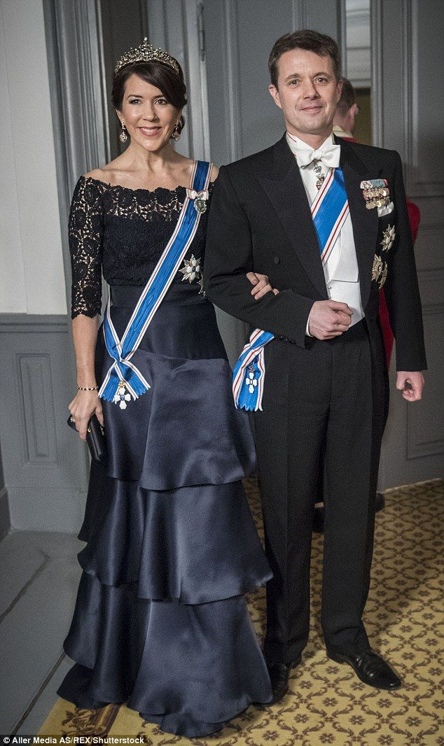 Crown Princess Mary and Crown Prince Frederik both stun during an elegant state dinner at ...