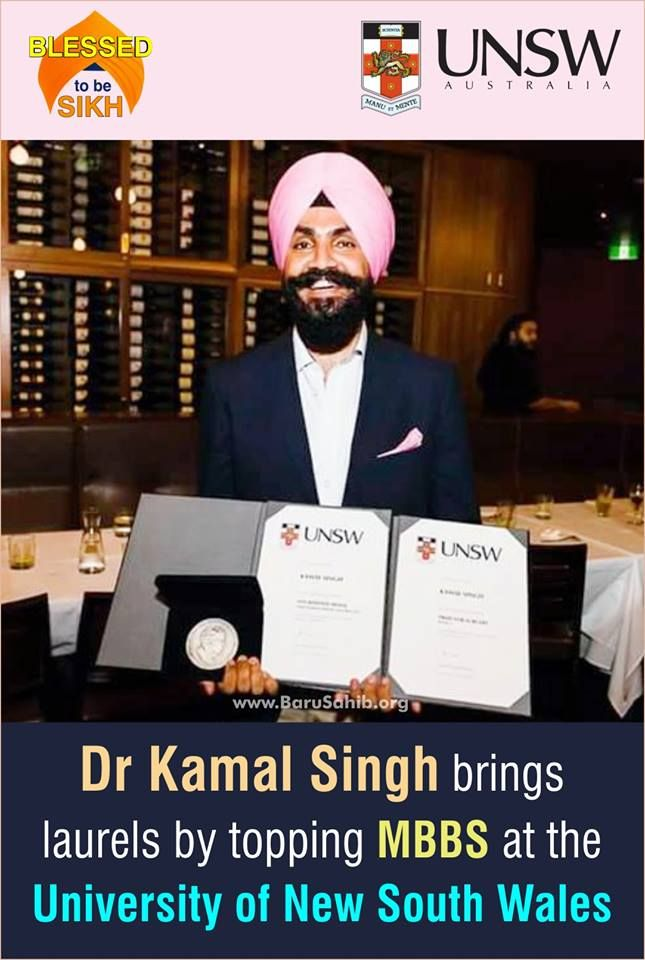 Dr Kamal Singh brings laurels by topping MBBS at the University of New South Wales  What's striking about 23 year old Kamal Singh is his ability to speak fluent Punjabi despite having moved to Australia when he was barely three. Before moving to Australia, his parents lived in a small village-Sudhewal in patiala District in Punjab. Read More - http://barusahib.org/general/dr-kamal-singh-top-mbbs-at-university-of-new-south-wales
