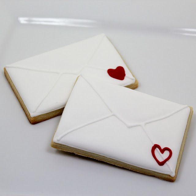 Valentines day envelope cookies