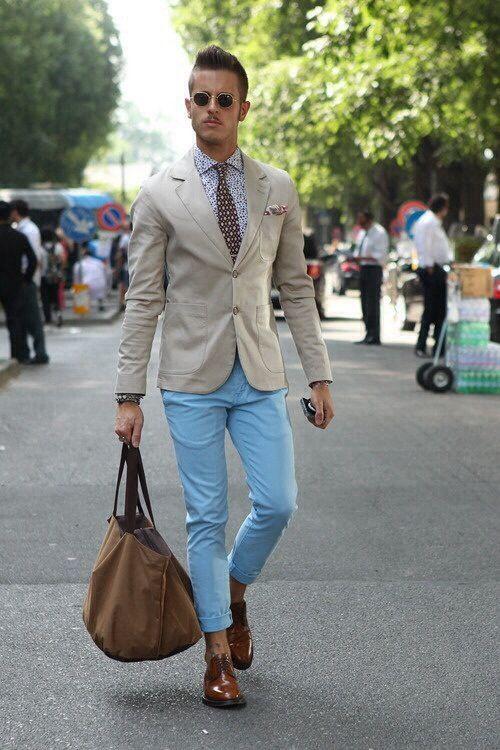 Resort business wear (light blue pants)