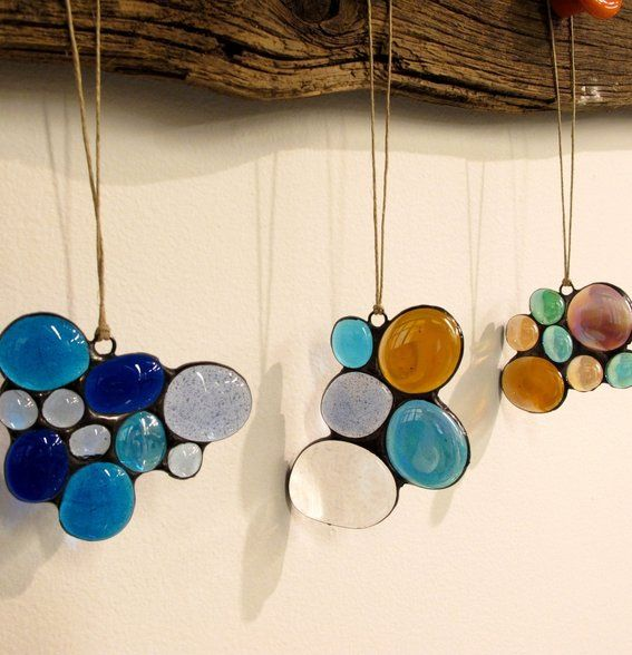 Copper Foil Overlay Stained Glass Projects | Stained Glass Nugget Blue Abstract Suncatcher, 1512