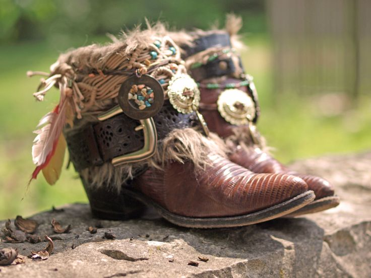 Upcycled REWORKED vintage boho COWBOY BOOTS от TheLookFactory