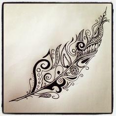Feather tattoo I drew. Feather. Tattoo. Tattoo Ideas. Abstract. Doodle Art.