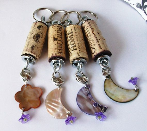 Wine Cork Key chains group of four Shell and Flower by EmsJewelry, $29.99