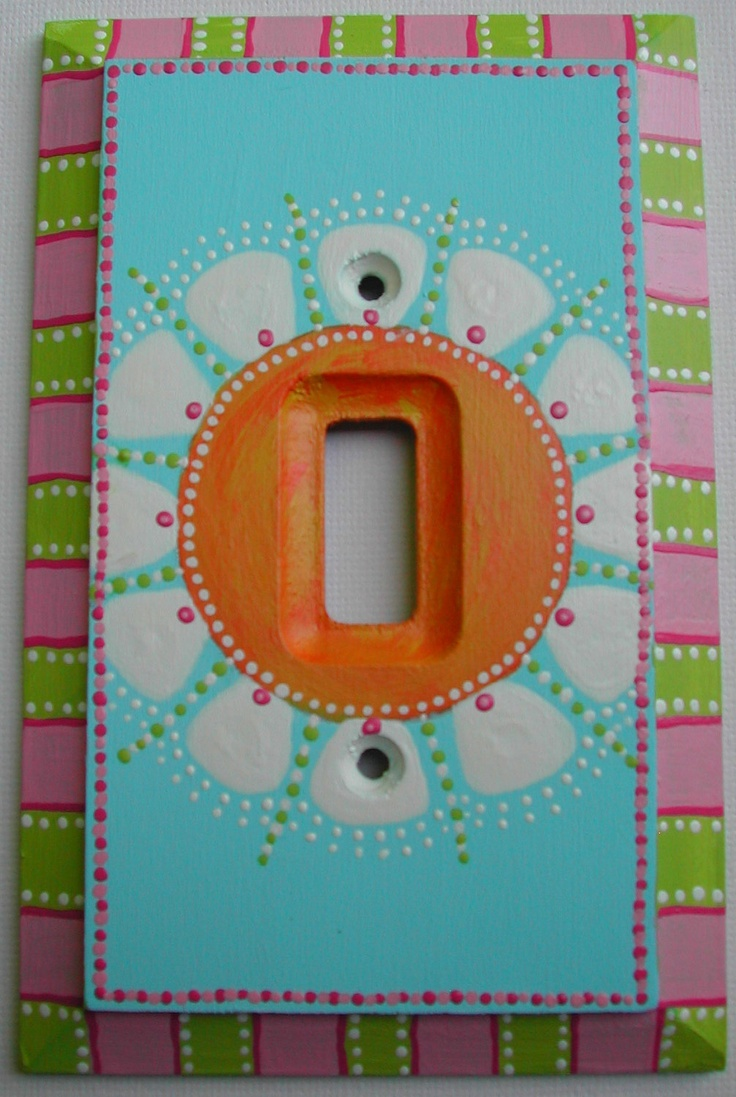 Arts and crafts switch plate covers - Switch Plate Hand Painted Single Toggle Art Light Switch Plate Daisy 30 00