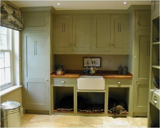mudroom with sage green closets/built-ins - Francie Readman Interiors