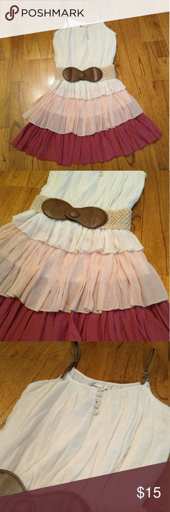 Ruffle White Pink Purple Belt Pearl Party Dress Very cute dress for any occasion like parties, dates or a girl's night out! 3 tiers of ruffles Comes with a stretch belt 5 pearl buttons in the front Adjustable straps  *One of the strings that holds the belt in place is broken. Feel free to bundle or send me an offer 579 Dresses