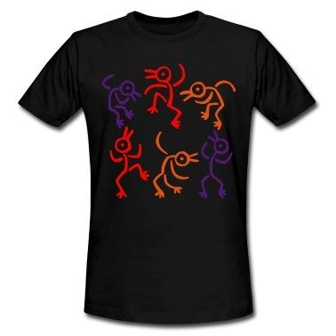 Pictogrammen het afschilderen van mensen dansen in een trance, in een sjamanistisch ritueel, en het draaien in vogels. U kunt de kleuren (3) van het ontwerp. Vector grafisch, geschikt voor plotprinten, flex en flock. T-shirts.