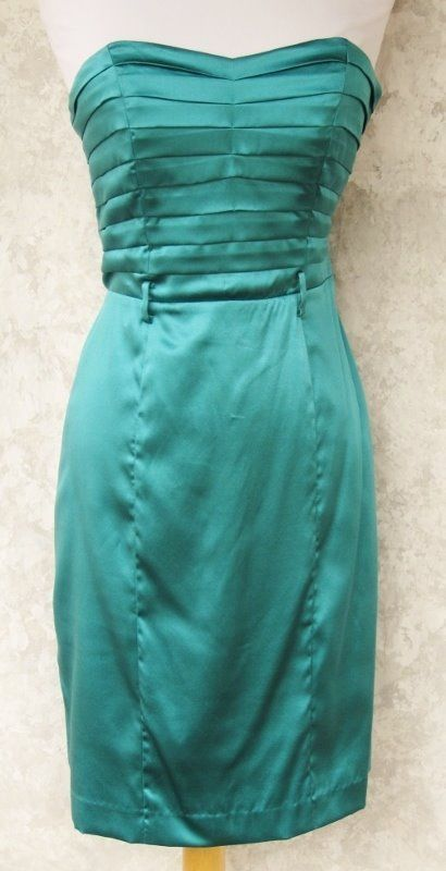 BETSEY JOHNSON Dress Silk Blend Teal Size 4 Pleated Bodice Needs Belt Occasion #BetseyJohnson #Sheath #Cocktail