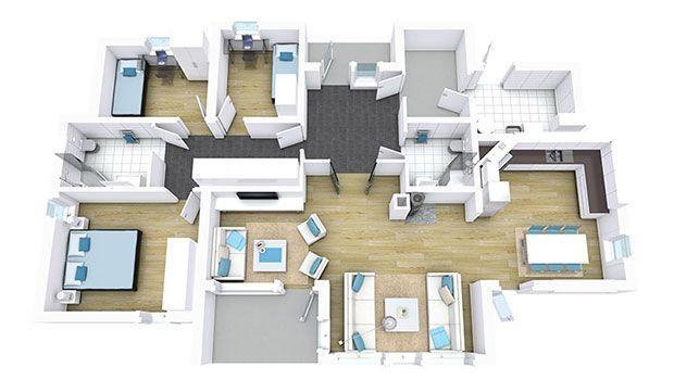 3d branded floor plan featuring 3 bedrooms 2 bathrooms for Plan your bathroom 3d