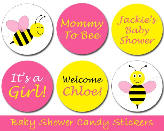 Digital Art Star Cute Scrapbook Paper And Party Printables DIY Baby Shower Favors Printable Bumble Bee Candy Stickers