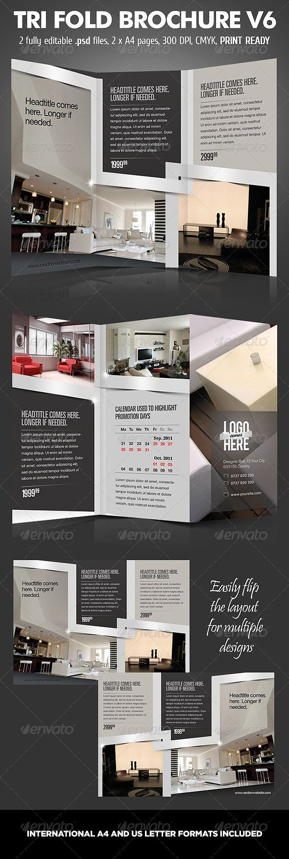TriFold Brochure V6 #GraphicRiver Tri fold brochure design used for product presentation and business promotion. Multifunctional design suited for almost all products. The original color scheme is best suited for architecture / interior design brochures. Also it can be used for technology / IT tri-fold brochures, as the metallic look suits those business quite a lot. Fully layered .psd files, A4, 300 dpi. Easily customizable colors for unique combinations. Photos are NOT part of the design…